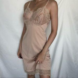 Tan Lace Slip Dress